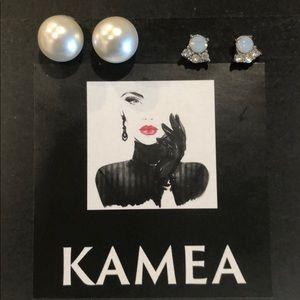 Kameakay pearl and stud earrings
